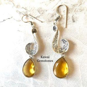 Jewelry - SALE ✨Citrine Dangle Earrings✨925 Silver Plated✨